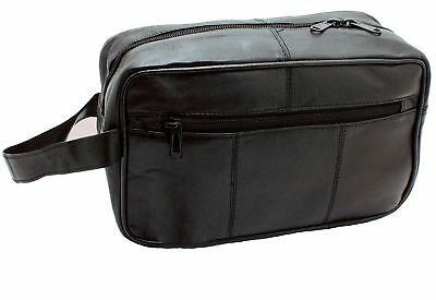 Mens Soft Leather Toiletry Travel Wash Bag Travel Kit Overnight Gift - Large