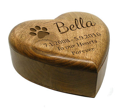 Large Medium Small Heart Wooden Pet Urn Cremation Ashes Cat Pet Box Personalised