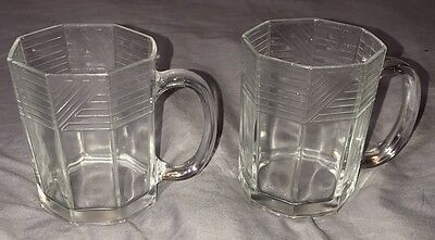 Set Of 2 Vintage Glass Coffee Cups