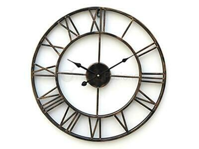 Distressed Antique Metal Wall Clock Vintage Roman Numeral Skeleton Frame 40Cm