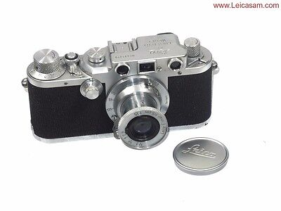 Leica IIIc shark skin chrome camera w/50/3,5 Elmar lens & case Ex+/++