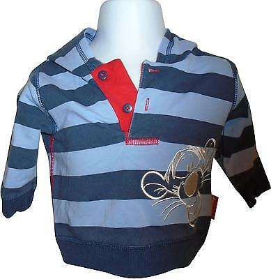 USED Boys George Blue Striped Tiger Decal Long Top Size 0-3 Months (E.B)