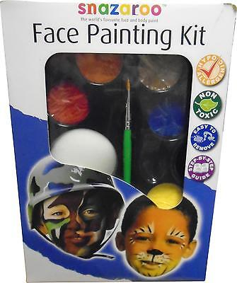 USED Snazaroo Face Painting Kit With 8 Classic Colours Sponge & Brush 22cm (M.H)