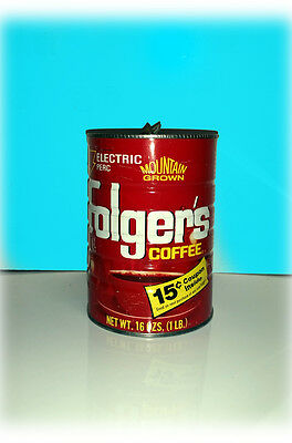 Vintage Folger's 1 lb Coffee Can - Old style scan-bar - no coffee or lid
