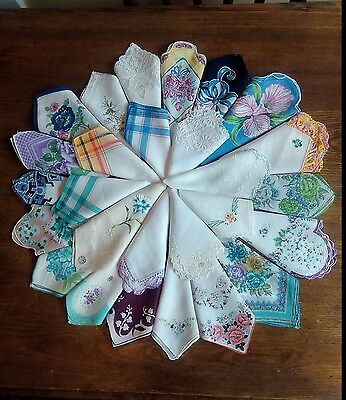 Lot Of 27 Hankies And Handkerchiefs Floral,plaid,embroidered Designs Vintage
