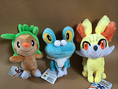Pokemon Plush Toys - Choice of Chespin, Froakie, Fennekin or Full Set - NEW