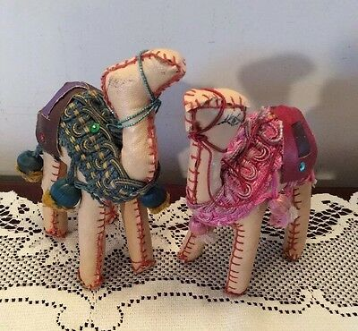 Vintage Hand Made Leather Camel Figures Ornate Detail Sewn Set Of 2, Pink,green