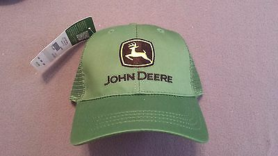 John Deere Logo Green Twill Mesh Baseball Cap Trucker Hat Adjustable