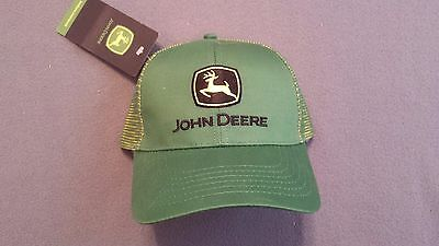 John Deere Logo Green & Yellow Twill Mesh Baseball Cap Trucker Hat Adjustable