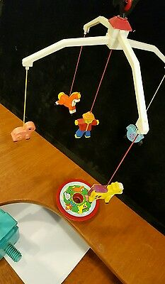 Vintage 1973 Fisher Price Crib Mobile Farm Animals MUSICAL WIND-UP