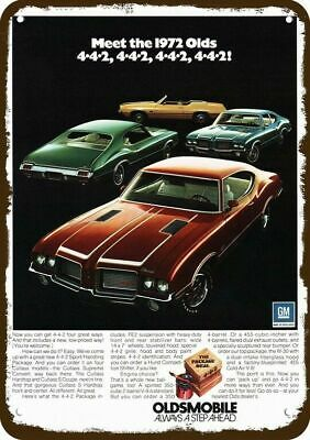 1972 OLDSMOBILE 442 CUTLASS SUPREME CONVERTIBLE &S COUPE Vintage Look Metal Sign