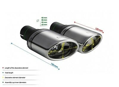 TWO TOP MUFFLER TIP ULTER SPORT N1-27L/P - SILENCER TAIL PIPE Ø120x80