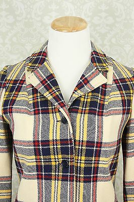 Vtg 70s Schoolboy Preppy Hipster Office Red Yellow Blue Plaid Blazer Small