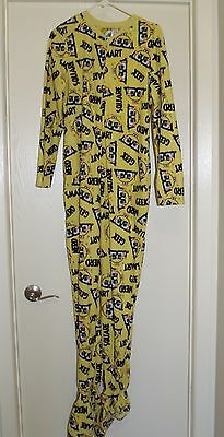 Spongebob Squarepants Footed Pajamas Adult Medium Nerd Geek One Piece Unisex