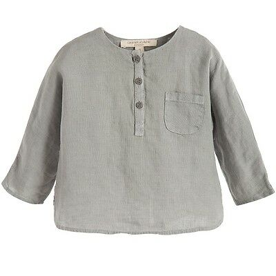 Caramel Baby And Child Baby Caraway Grey Linen Shirt 12 Months