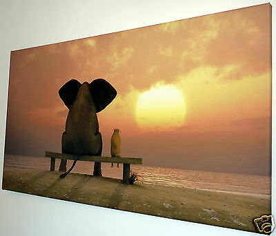 """Sunset With Friends Wall Art Canvas Picture Large 18"""" X 32"""""""