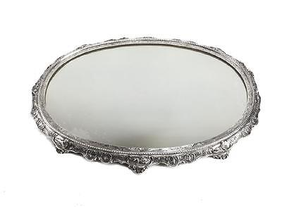 German Sterling Silver Engraved Mirrored Centerpiece Plateau, 19th Century