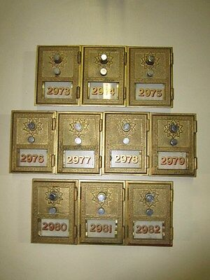 Grecian Style Brass Post Office Box Door with Combination (Lot of 10)