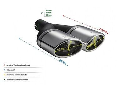 TOP DOUBLE MUFFLER TIP ULTER SPORT N2-27 - SILENCER TAIL PIPE Ø120x80