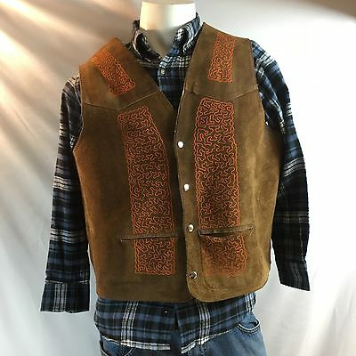 Vintage Suede Leather Vest Faux Shearling Hand-Made Snap Vest Made In Mexico