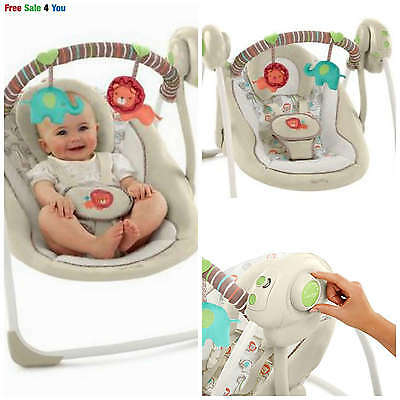 Baby Swing Portable Infant Cradle Rocker Music Seat Toddler Chair Travel 2 Toys