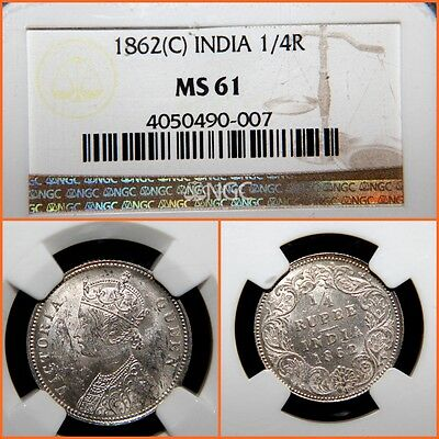 British India   1862 C  Ngc  1/4  Rupee  Ms-61 , Silver!!