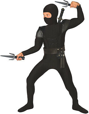 Boys Black Ninja Costume Accessories Kids Samurai Warrior Fancy Dress 8 Piece