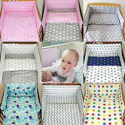 3 Pcs Baby Nursery Bedding Set fit Cot 120x60 or Cot Bed 140x70cm -PADDED Bumper