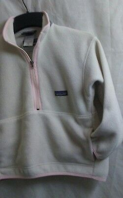 Kids Patagonia Synchilla 1/2 Zip Fleece Pullover Jacket Size Small 8 White Pink