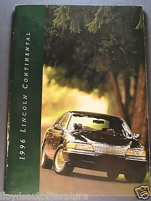 1996 Lincoln Continental Catalog Sales Brochure Excellent Original 96