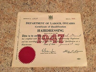 Vintage 1947 Hairdressing Certificate of Qualification Labour Ontario Canada