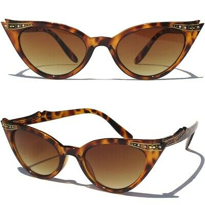 FLOWERS and RHINESTONES CAT EYE SUNGLASSES Retro Hipster Pinup Vintage Style