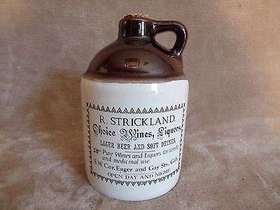 "RARE Antique Stoneware R. Strickland Advertising Jar 6.5"" Tall"