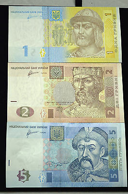 UKRAINE 1,2&5 HRYVNIA FOREIGN PAPER MONEY BANKNOTE.(Lot of 3)