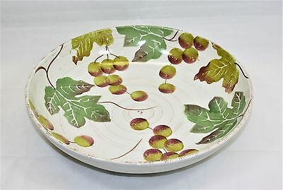 "Loucarte 13"" Round Serving Bowl hand Painted Grape Motif Made in Portugal"