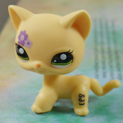 """LPS #1962 COLLECTION Figure Flower YELLOW CAT KITTY TOY 2"""" LITTLEST PET SHOP"""