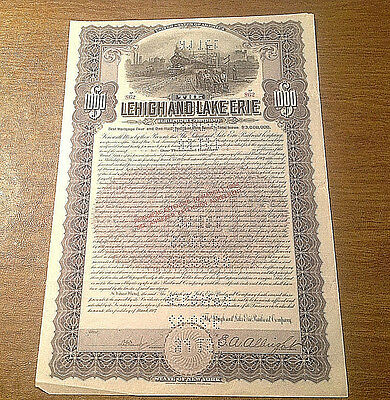 1907 The Lehigh and Lake Erie Railroad Company $1000 Gold BOND Certificate