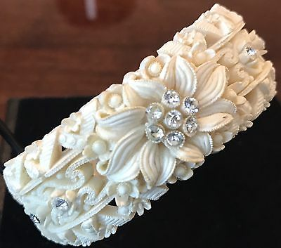 Vintage Carved Bone Celluloid with Rhinestones Hinged Clamp Bracelet Bangle
