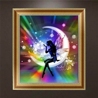 DIY 5D Diamond Painting Moon Angel Embroidery Cross Stitch Craft Home Decor