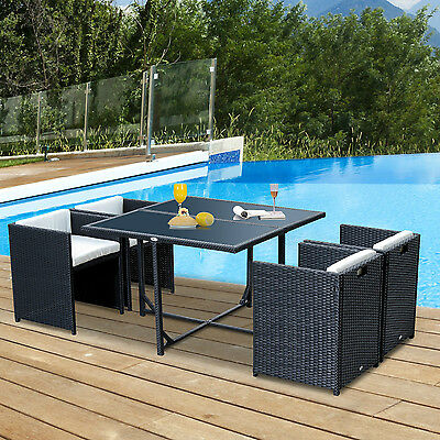 Outsunny 5pcs Rattan Wicker Dining Sofa Table Set Outdoor Patio Furniture Black