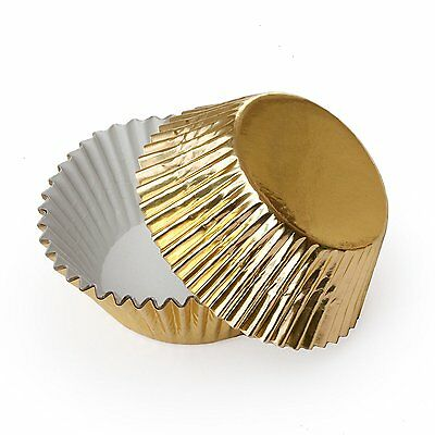 Fox Run 48 Gold Foil Mini Bake Muffin Cups Cupcake Liners Birthday Holiday New