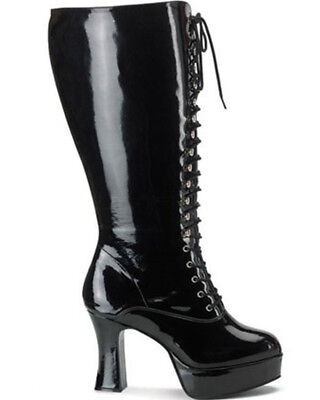 Black Patent Lace Up Wide Fit Womens Boots