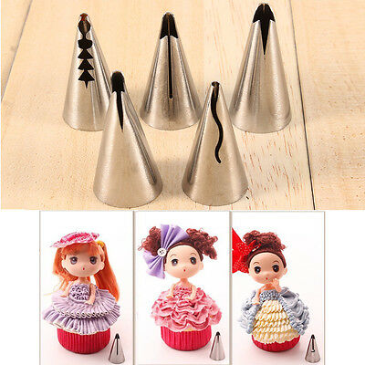 Home Decor Tool 5x Icing Russian Skirt Piping Nozzle Pastry Tips Sugarcraft Cake
