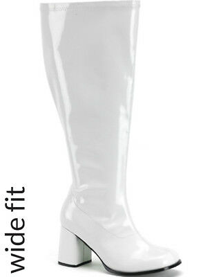 White Patent Wide Calf Fit Womens Boots