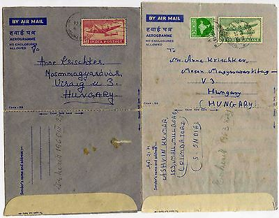 INDIA AIRLETTERS STATIONERY to HUNGARY 1963 + 1965