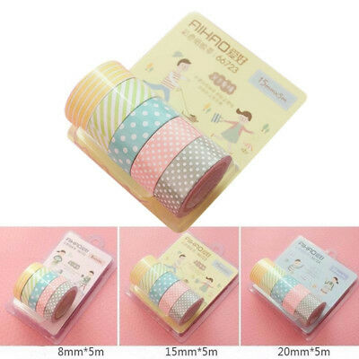 5pcs/Set DIY 5M Washi Paper Tape Adhesive Sticky Decorative Scrapbooking Sticker
