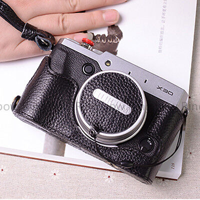 Hand-made Black Leather Lens Cap Holder Cover Protector For Fujifilm X100T X100S