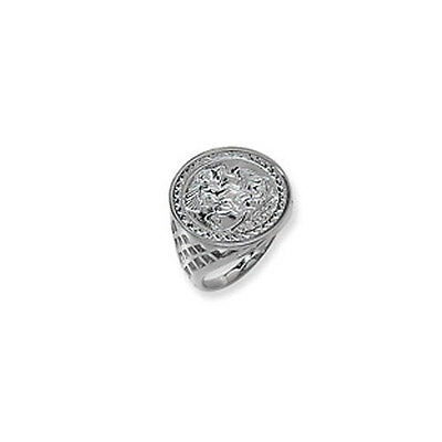 Sterling Silver Gents St. George Imitation Coin Ring