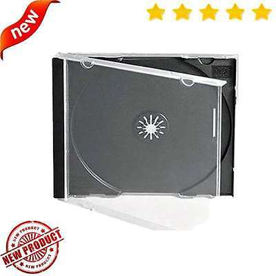 Maxtek 10.4 mm Standard Single Clear CD Jewel Case with Assembled Black Tray, 25