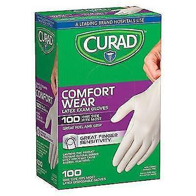 Curad CUR4125R Latex Exam Gloves, One Size Fits Most (Pack of 100) New